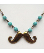 Antiqued Brass Mustache Turquoise Necklace Hand... - $12.99