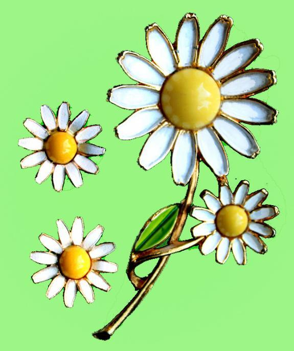 Vintage Signed Weiss Brooch  Clip Earrings Set Enamel Daisy Pin