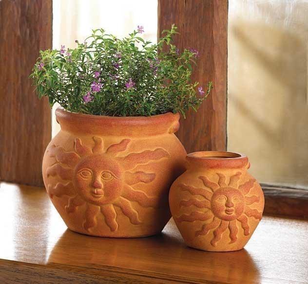 2 Flower Pots Terra Cotta Southwestern Ceramic Planters