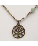 Antiqued Brass Tree of Life Green Jade Necklace... - $12.99