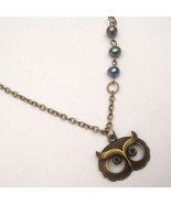 Antiqued Brass Owl Pearl Necklace Handmade Vint... - $12.99