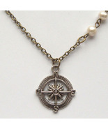 Antiqued Brass Compass Pearl Necklace Handmade ... - $12.99