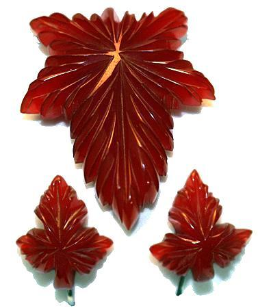 Vintage Deep Carved Bakelite Red Leaf Dress Clip and Clip Earrings