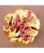 TIFFANY VINTAGE GOLD & 23 RUBIES ART NOUVEAU PIN - $4,158.00