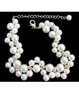 Gorgeous Bridal Bracelet Twisted White Pearl Br... - $12.76