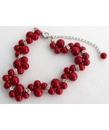 Holiday Gift Bridal Bracelet Twisted Red Pearl ... - $12.76