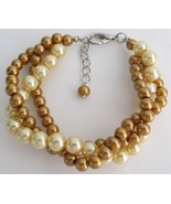 Pearl Bracelet Classic & Contemporary Gold & Ye... - $15.98