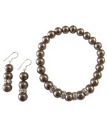 Brown Pearl Jewelry Stretchable Bracelet Earrin... - $13.33