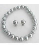 Classy Gray Pearls Stretchable Bracelet Stud Ea... - $15.98