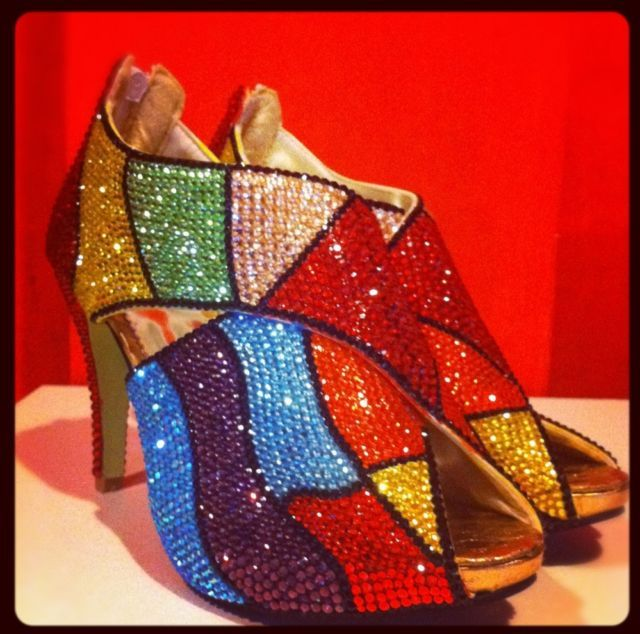Bling Crystal shoe high Heel pump Rainbow pump  Hand Strass W/ Swarovski Element