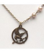 Antiqued Brass Hungery Game Mocking Bird Pearl ... - $12.99
