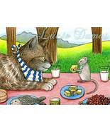 ACEO art print Cat #355 picnic,mouse fantasy by... - $4.99