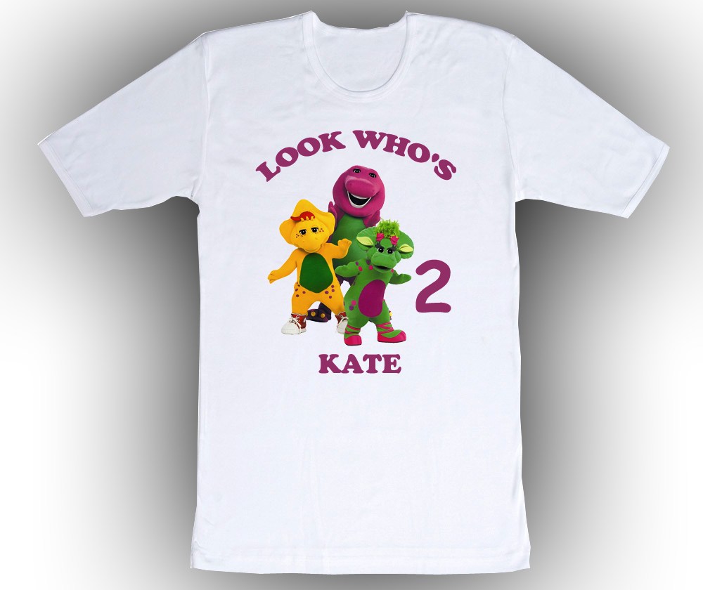 Barney friends personalized white birthday shirt t shirts for Unique custom t shirts