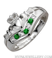 Handcrafted Sterling Silver Wishbone Claddagh Ring with Cubic Zirconia and Green