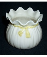 Irish Belleek Parian China Crinkle Pot / Green ... - $45.00