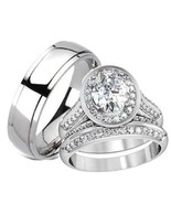 His Hers Halo Cz Matching Wedding Ring Set Stai... - $39.99
