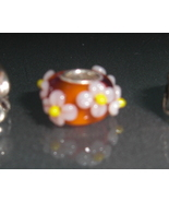 Pandora by Gemware Orange and Pink Glass Flower... - $19.99
