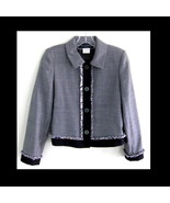 Black and white houndstooth blazer Wool 4P Frin... - $39.99