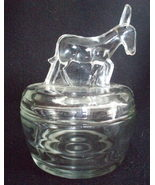 Jeannette Glass donkey powder vanity jar vintage