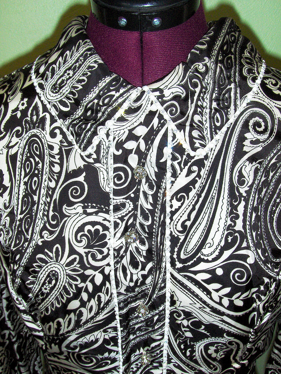Unique Funky 60's Vintage Mod Paisley Dress Rhinestones