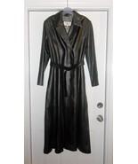Crombie Black 100% Leather Long Trench Coat Siz... - $449.99