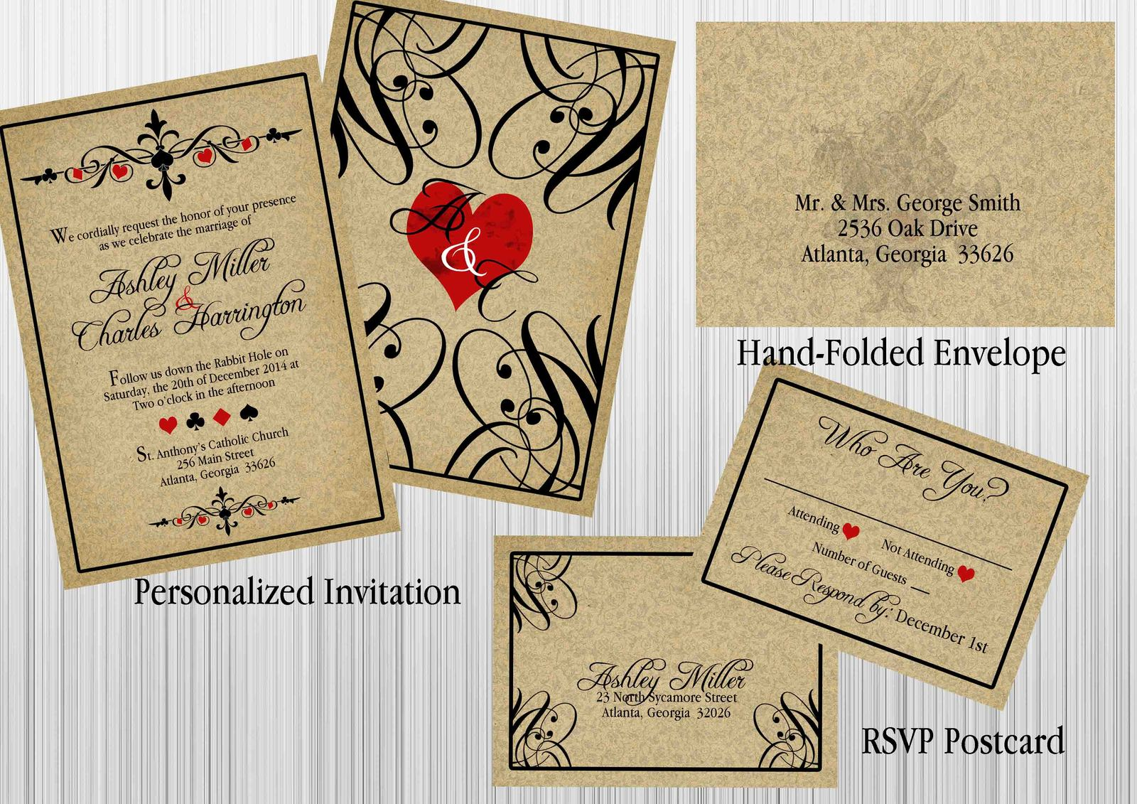 Alice In Wonderland Vintage Wedding Invitation Set Envelope RSVP Custom