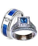 His & Hers Halo Sapphire Blue & Clear Cz Weddin... - $34.99