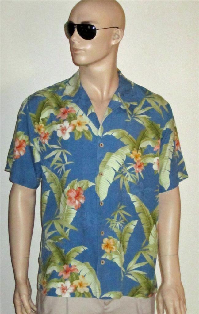 Tommy Bahama 98 Men 39 S Silk Blue Print Hawaiian Shirt