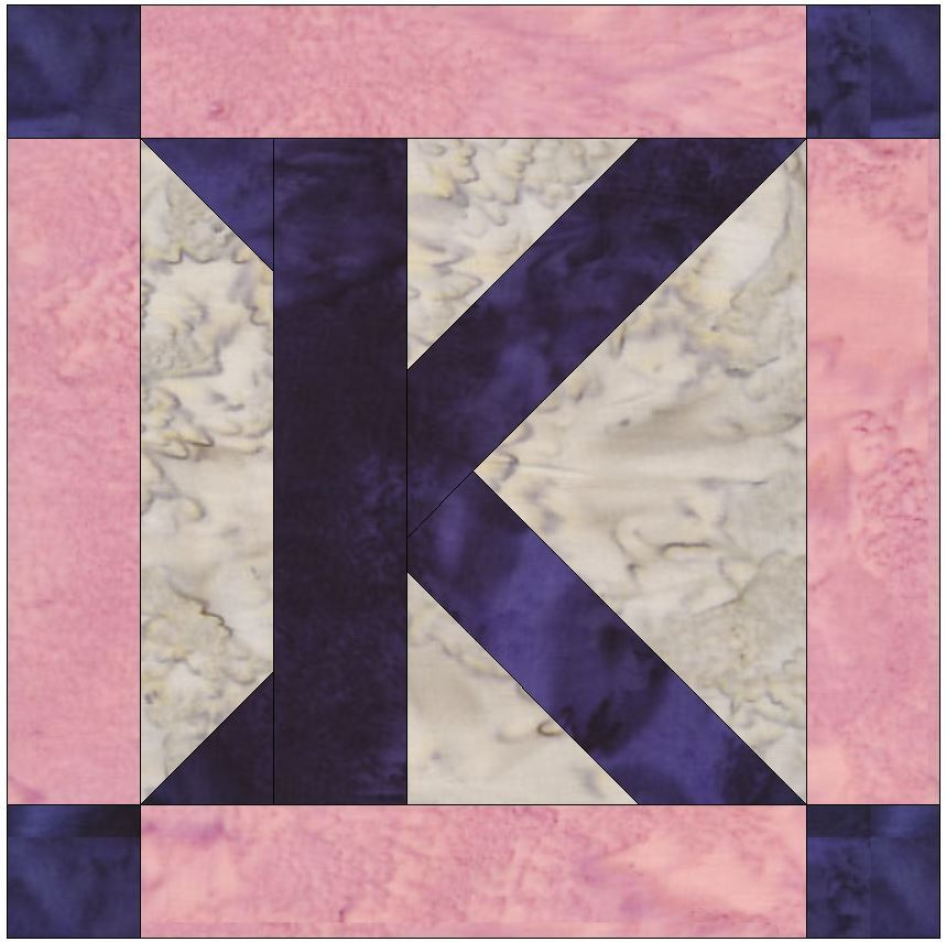Foundation Pieced Letter K Paper Piece Quilting Block Pattern in PDF - Quilt Patterns