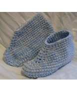 Crocheted Slippers blue off white M 7 8 inch me... - $5.00
