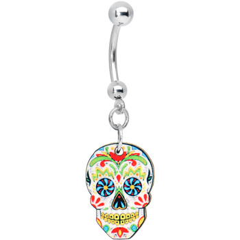 White sugar day of the dead voodoo skull belly ring for Day of the dead body jewelry