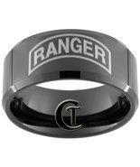 Tungsten Carbide Wedding Ring 10mm Black Bevele... - $49.00