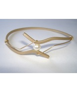Wavy Oval Bracelet Gold Pearl Unique Handcrafte... - $69.00