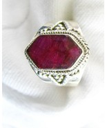 Natural Red Ruby faceted Hexagon Art Deco Style... - $98.32