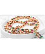 18k Rose Gold Plated Mulit-Colored Lariat Necklace