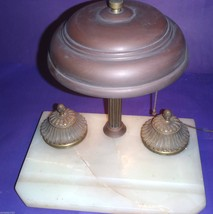 ANTIQUE BRYANT DESK LAMP INKWELL MARBLE BASE PU... - $116.53