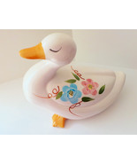 Kitchen decor ceramic duck hand painted flowers... - $9.98