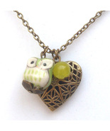 Antiqued Brass Lemon Jade Porcelain Owl Locket ... - $13.99