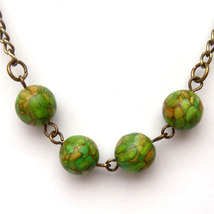 Antiqued Brass Africa Turquoise Round Bead Neck... - $9.99