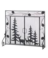 Fireplace doors screen w evergreens deer and pi... - $49.99