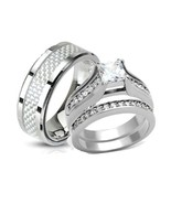 His & Hers Stainless Steel Princess Cut CZ Wedd... - $29.99