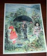 Vintage Children Print Springtime Umbrella Art ... - $10.00