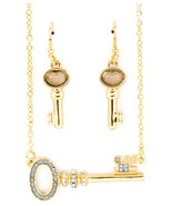 Antiqued Key Lovers Necklace/Earring Set - $8.50