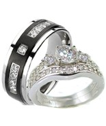 His & Hers 3 Piece Vintage Style Wedding Ring S... - $39.49
