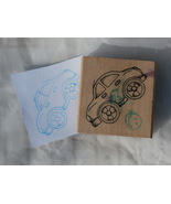 Car Shaped Rubber Stamp, sort of looks like a V... - $2.99
