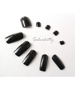 Black Fingernail plus Toenail Full Coverage Tips Set, Long Nails Halloween LARP - $5.00