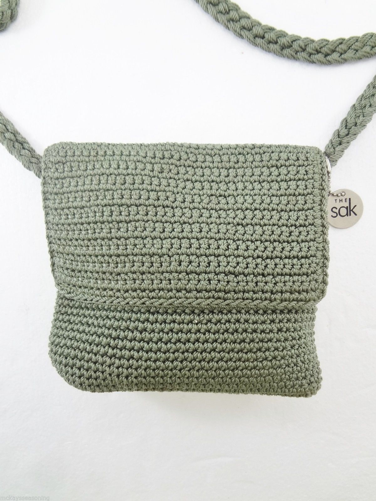 The Sak Sage Green Crochet Small Cross-Body Shoulder Bag Handbag Purse ...