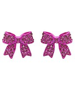Fashion Crystal Pave Bow Ribbon Stud Earrings F... - $10.85