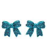 Fashion Crystal Pave Bow Ribbon Stud Earrings Teal - $10.85
