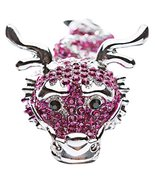 Dragon Fuchsia Pink Clear Crystals Silver Anima... - $16.60